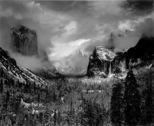 Ansel Adams 1942 Yosemite Valley Clearing Winterstorm Taken and printed by Ansel Adams, born on this date in 1902.
