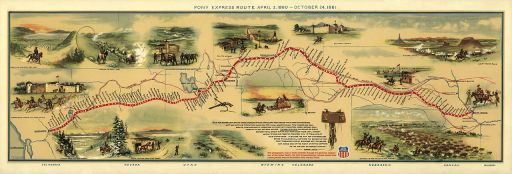 Illustrated Map of Pony Express Route in 1860 by William Henry Jackson  ~ Courtesy the Library of Congress ~