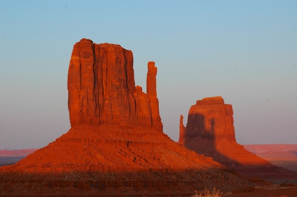 Twice a year at sunset, the Sun and the Mittens in Monument Valley line up so the shadow of West Mitten appears on East Mitten. March 27, 2010, was one of those times. This photo was taken a few feet from our campsite. It's better if you click for the larger version.