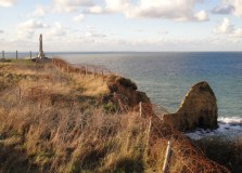 Next we drove to Pointe du Hoc, famous spot of Ranger glory. When I came in 2000, you could walk out to the point. Now cliff erosion has made it unsafe to get very close.