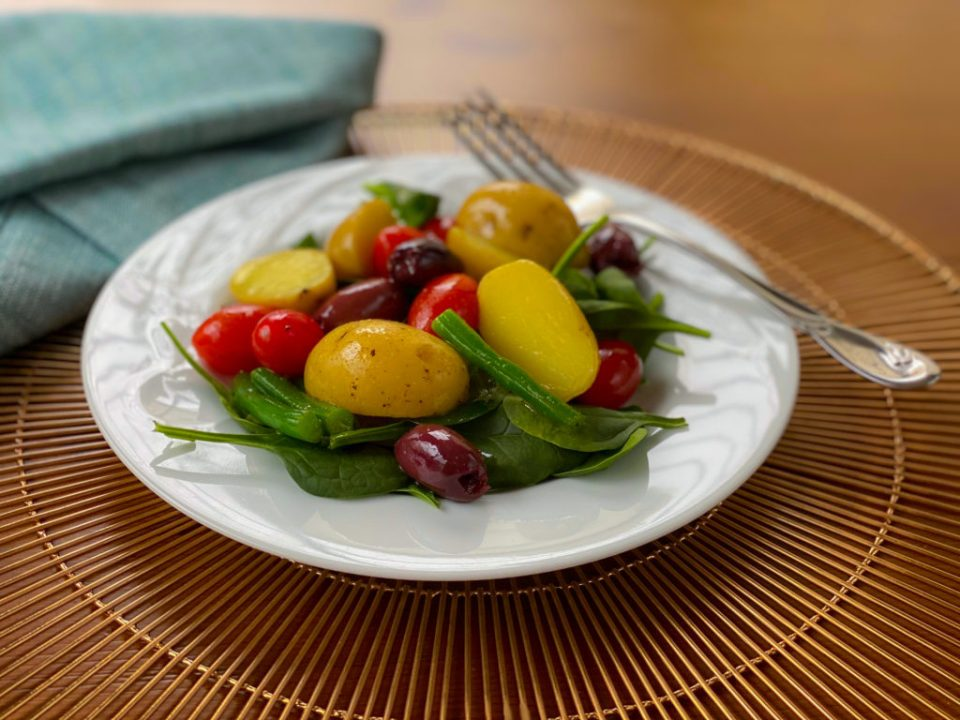 Potato and Green Bean salad on a plate