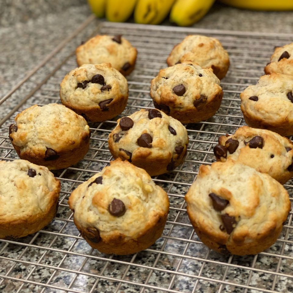Cooling rack with a dozen Banana Chocolate Chip Muffins
