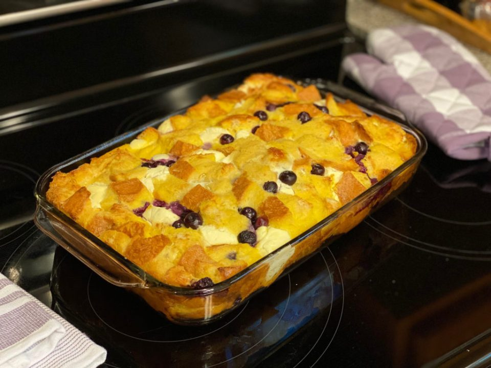 Casserole dish with blueberry French toast