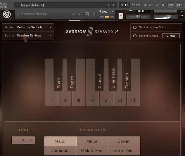 Native Instruments Session Strings 2 - la finzione Smart Chord