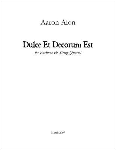Alon Dulce et Decorum Quartet