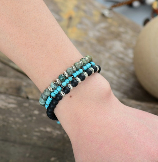 Bracelet pierre semi-précieuses turquoise howlite