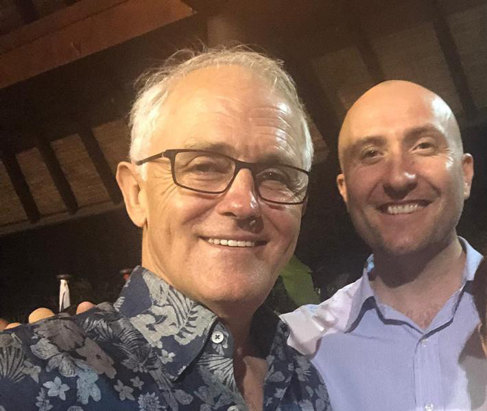 Nigel Grier, right, with former Australian Prime Minister Malcolm Turnbull, seen in a photograph posted to Grier's Facebook page.