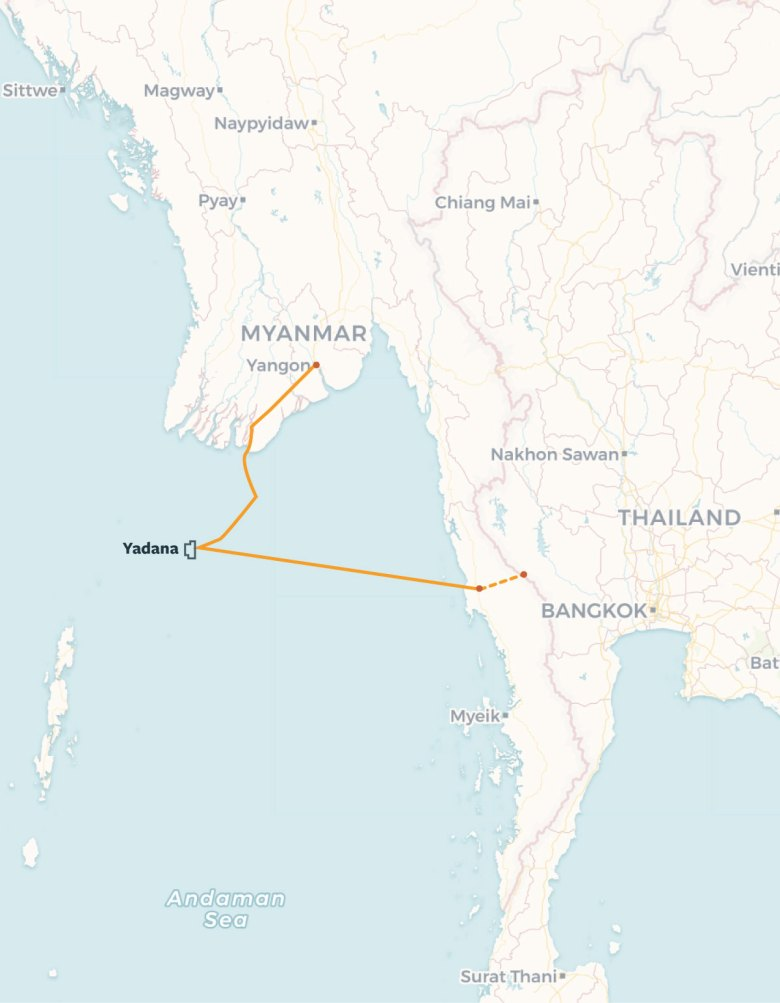 Gas is transported from the Yadana gas field through two pipelines, one connecting to Yangon, and the other to the Thai border.