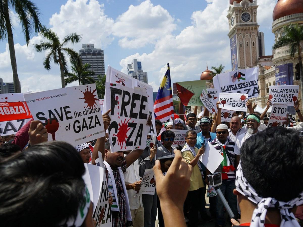 A pro-Palestine demonstration in Kuala Lumpur on 2 August 2014.
