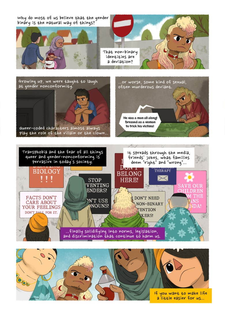 """Page 6. A comic page of five panels in black lines and full colour. The narration is provided in caption boxes. Panel 1. Frustrated, the main character walks back home. A small child turns to look at them, but her parents do not approve. The mother covers the child's eyes, and the father pulls her away. Narrator: """"Why do most of us believe that the gender binary is the natural way of things? That non-binary identities are a deviation?"""" Panel 2. Flashback to the main character as a child. They have short curly black hair and are seated in front of a television. Narrator: """"Growing up, we were taught to laugh at gender nonconformity. Queer-coded characters almost always play the role of the villain or the clown…"""" Panel 3. Time passes; the main character is now a teenager, with longer hair that has been dyed blonde. They are watching a show on a laptop. Narrator: """"…or worse, some kind of sexual, often murderous, deviant."""" Voice from the show: """"He was a man all along! Dressed as a woman to trick his victims!"""" Panel 4. MC and the other three non-binary characters stand facing a wall of anti-LGBT, transphobic signages. Narrator: """"Transphobia and the fear of all things queer and gender-nonconforming is pervasive in today's society. It spreads through the media, friends' jokes, what families deem """"right"""" and """"wrong""""...finally solidifying into norms, legislation, and discrimination that continue to harm us."""" Panel 5. The four characters approach the sign. The tall person readies a can of spray paint. Narrator: """"If you want to make life a little easier for us..."""""""