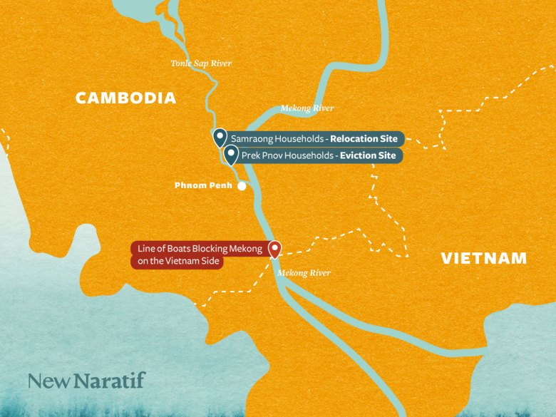 Map of Cambodia-Vietnam border showing locations of evicted fishers' boats and boat blockade preventing their entry into Vietnam