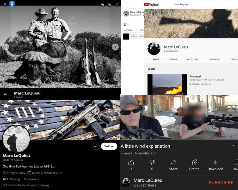 Screenshots of social media profiles under the name Marc LeQuieu.