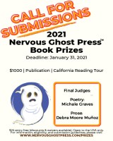 Screenshot of Nervous Ghost Press 2021 Book Prizes flier