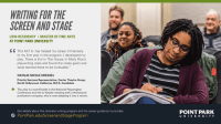 Screenshot of Point Park University Low-Res MFA in Writing for the Stage & Screen February 2021 eLitPak Flier