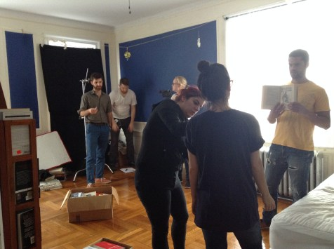 """David (Director), Isaac (Producer), Tine (DP), Mielle (SE), Shannon (Actress) and Barret (Actor) and """"The Real Thing"""" shoot."""