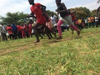 Girls running at a track meet