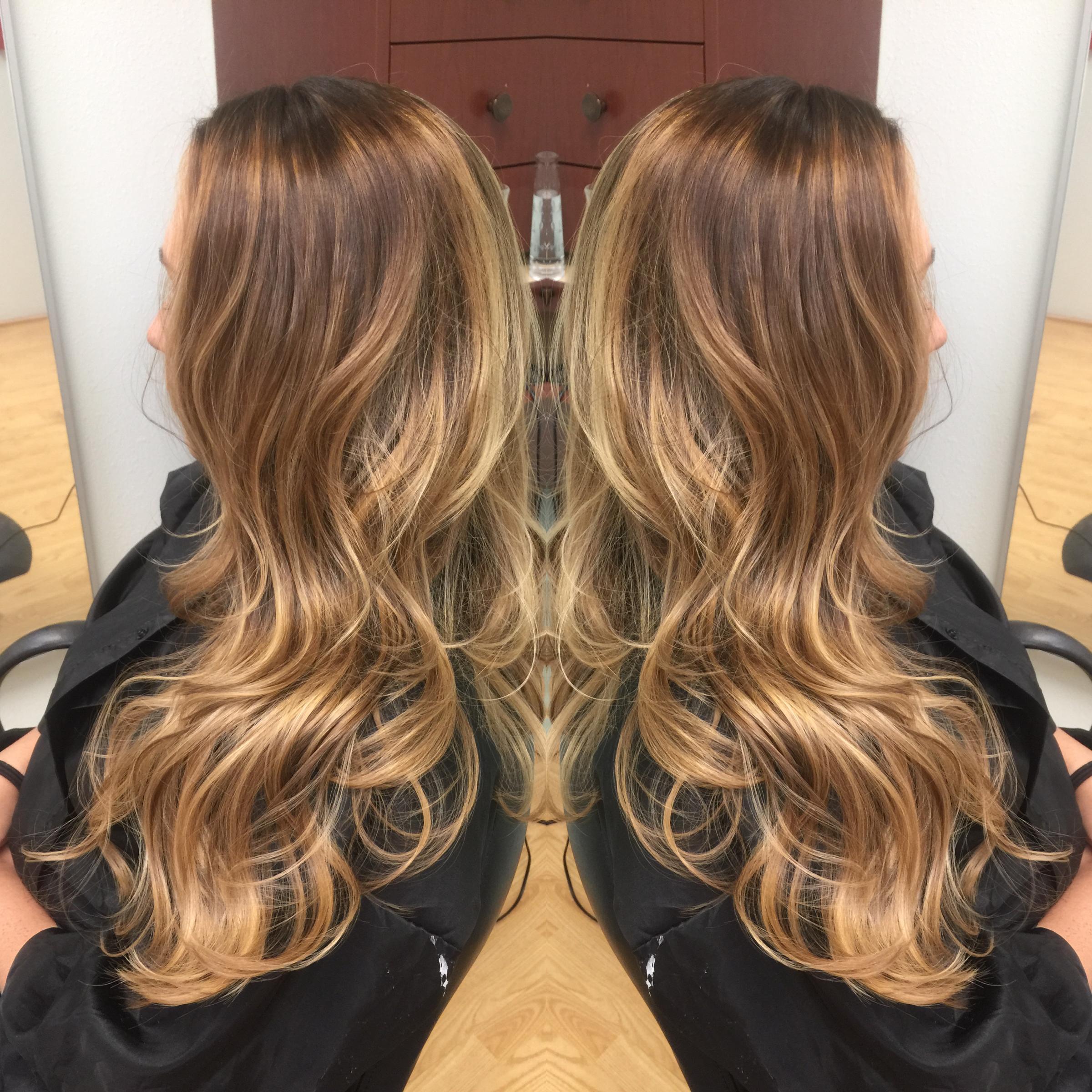 Newport Beach Hair Stylist Dark Warm Blonde Base with Carmel