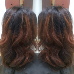 Newport Beach Hair Stylist Dark Brown Base with bright copper Balayage Highlights by Emily Cain