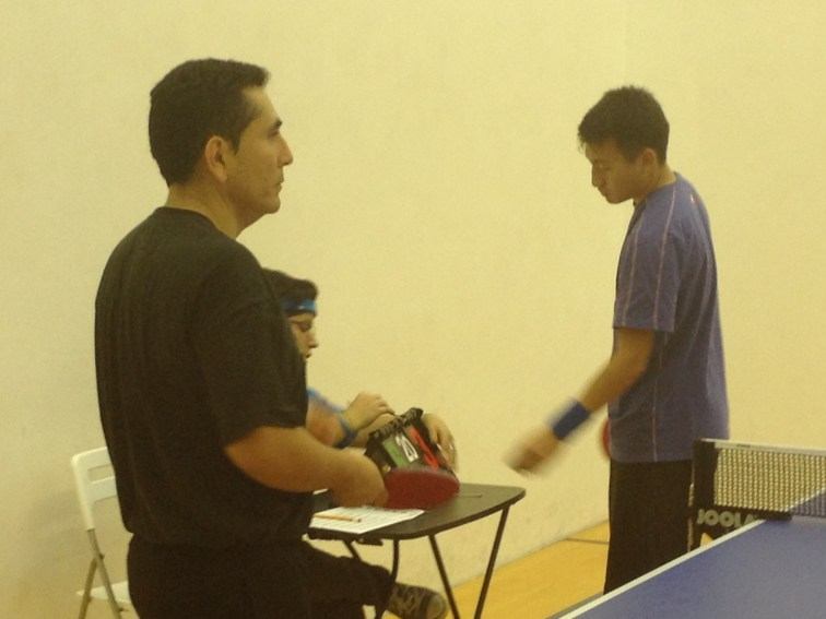 Watching a interesting table tennis match in Newport Beach