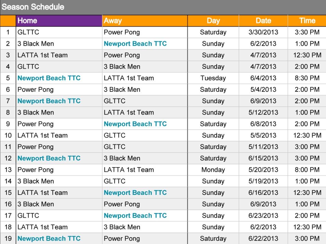 Newport Beach TTC League Schedule 2013
