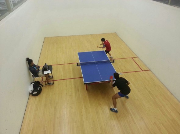 newport beach table tennis team during a match