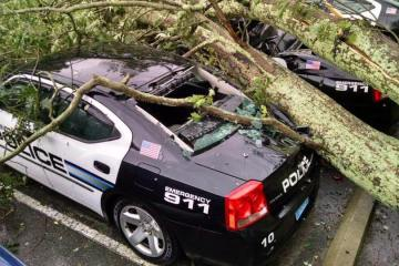 Barrington RI POlice Storm Damage Car