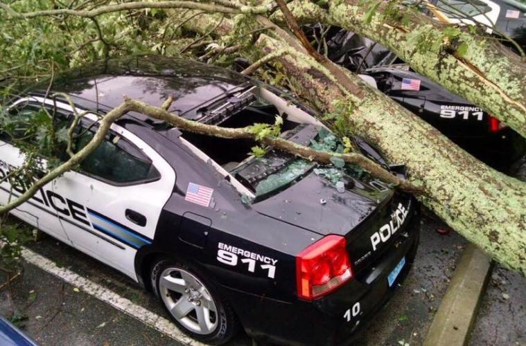 Barrington RI POlice Storm Damage Car