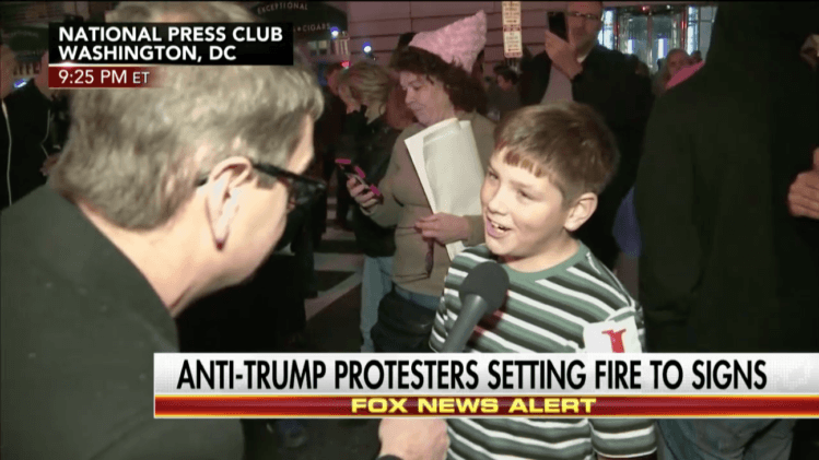 Trump protest fire kid conner