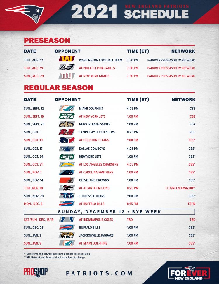 Patriots Schedule