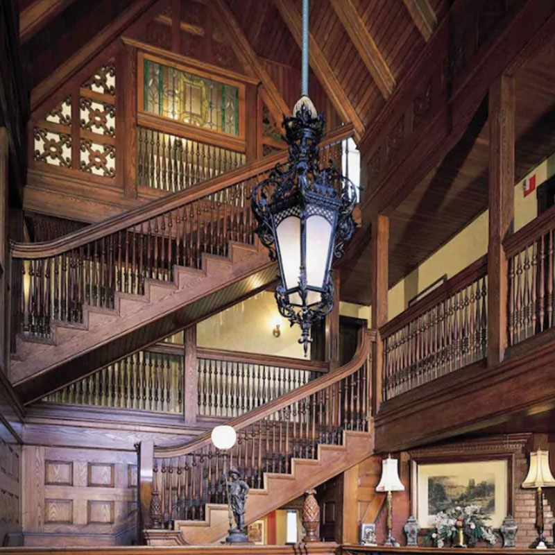 Hanging light and staircase | Newport Inns of Rhode Island