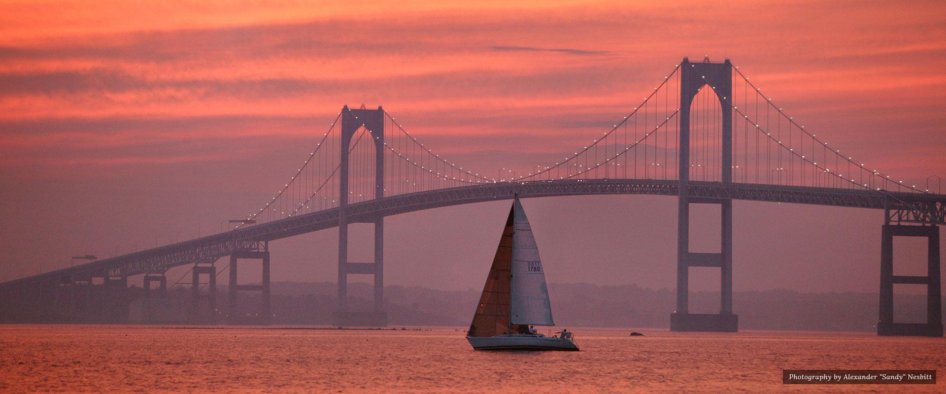 Yacth and bridge in purple sunset | Newport Inns of Rhode Island