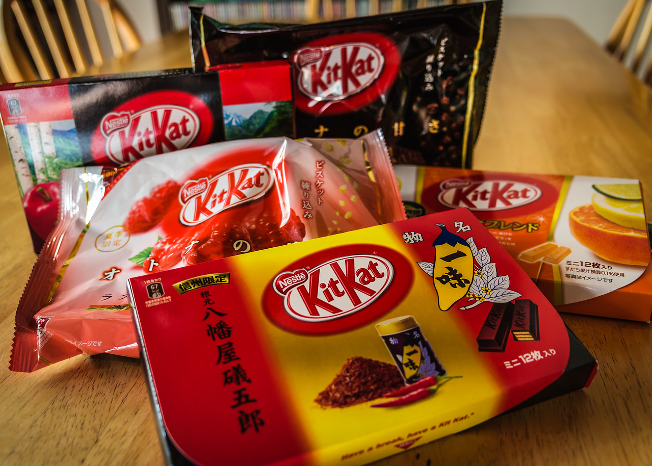 Different flavors of KitKats.