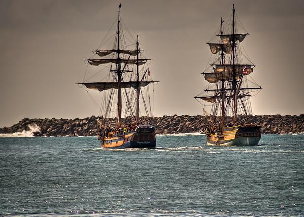 The Lady Washington and the Hawaiian Chieftain in Yaquina Bay, Newport, OR