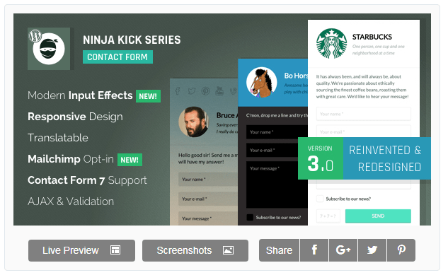 Ninja Kick Series, another great WordPress contact form plugin.
