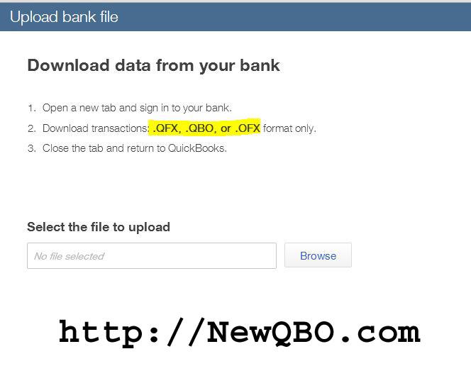 Upload bank file QFX QBO OFX   NEWQBO COM