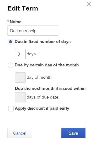due on receipt