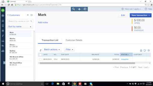 Customer Mark's Account with $500 Unapplied Credit