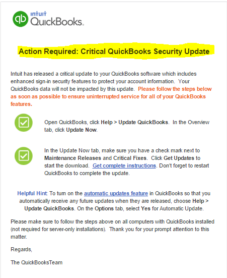 Today I Received Action Required Critical Quickbooks Security