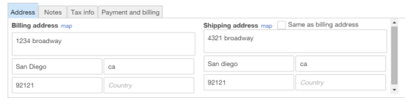 shipping address