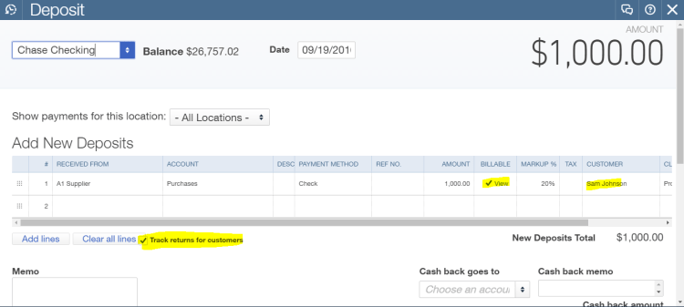 deposit with billable and track returns for customers