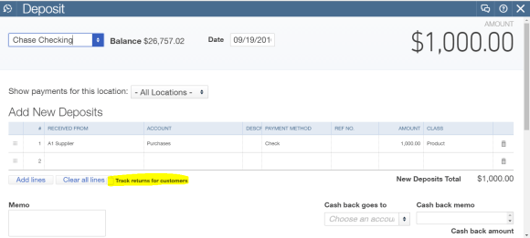 deposit without billable-and track returns for customers