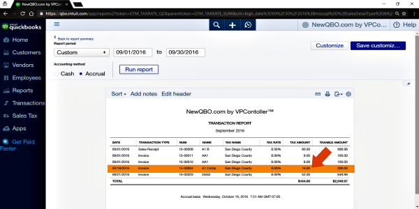 sales tax transaction report (accrual basis)