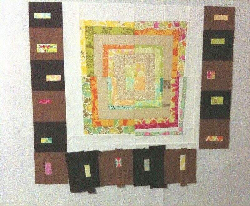 Photo of quilt blocks on quilt design wall