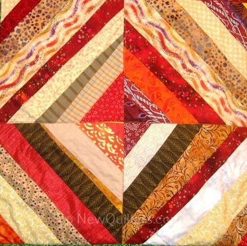 Photo of four string quilt blocks