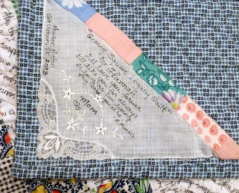 Quilt label made from vintage handkerchief