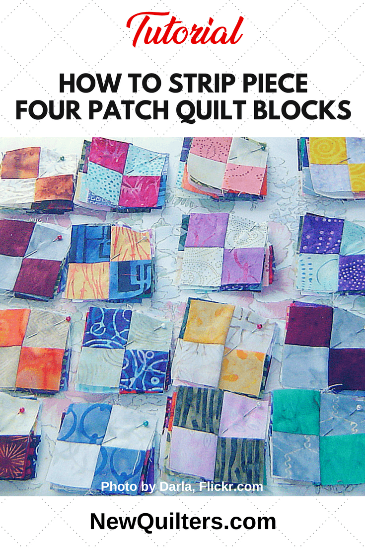 Learn how to strip piece the easy and essential four-patch block. Tutorial from NewQuilters.com. #strippiecing, #jellyrollquilt, #quiltingtutorial, #easyquiltshowto, #quiltingforbeginners
