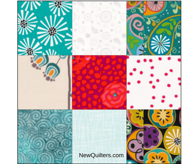 Image of scrappy nine-patch quilt block