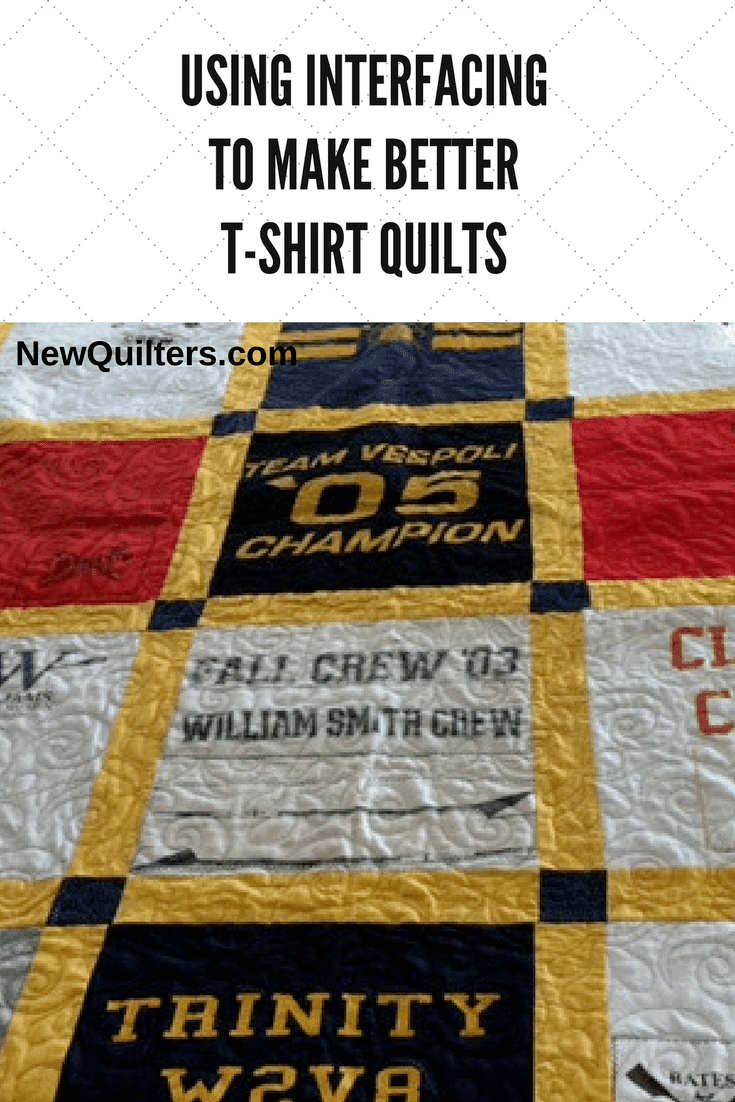 A deep dive into the facts about interfacing and how you can use it to make better t-shirt quilts. Article from NewQuilters.com. #interfacingfortshirtquilt, #tshirtquilt, #tshirtquiltdiy