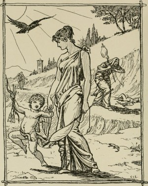 cupid, a woman, a crow, and a crone