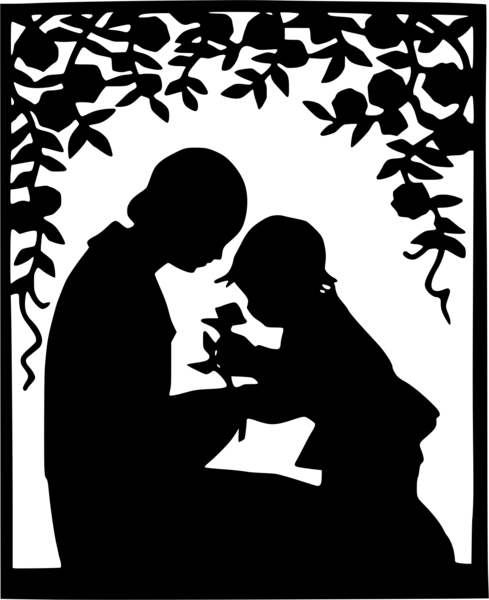 A black and white cutout of a mother and child under a flowering tree